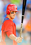 28 February 2011: Washington Nationals' outfielder Bryce Harper stands on deck during a Spring Training game against the New York Mets at Digital Domain Park in Port St. Lucie, Florida. The Nationals defeated the Mets 9-3 in Grapefruit League action. Mandatory Credit: Ed Wolfstein Photo