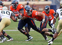 Sept. 3, 2011 - Charlottesville, Virginia - USA; Virginia Cavaliers tight end Paul Freedman (88) and Virginia Cavaliers offensive tackle Morgan Moses (78) block during an NCAA football game against William & Mary at Scott Stadium. Virginia won 40-3. (Credit Image: © Andrew Shurtleff