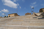 Philadelphia Museum of Art, front steps, Rocky steps..Philadelphia, Pennsylvania, PA USA.  Photo copyright Lee Foster, 510-549-2202, lee@fostertravel.com, www.fostertravel.com.  Photo 209-30727