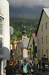 Shops and steeple of johanniskirche. Imst district,Tyrol, Austria.