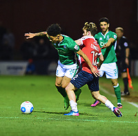 Lincoln City's Josh Ginnelly vies for possession with York City's Aidan Connolly<br /> <br /> Photographer Andrew Vaughan/CameraSport<br /> <br /> The Buildbase FA Trophy Semi-Final First Leg - York City v Lincoln City - Tuesday 14th March 2017 - Bootham Crescent - York<br />  <br /> World Copyright &copy; 2017 CameraSport. All rights reserved. 43 Linden Ave. Countesthorpe. Leicester. England. LE8 5PG - Tel: +44 (0) 116 277 4147 - admin@camerasport.com - www.camerasport.com