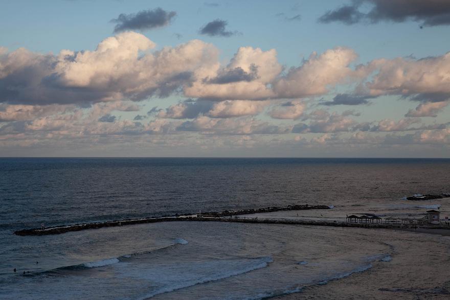 Sunrise View of Mediterranean Ocean from Tel Aviv, Israel