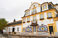 Winery building. With typical Portuguese enamelled tiles. JM Jose Maria da Fonseca, Azeitao, Setubal, Portugal
