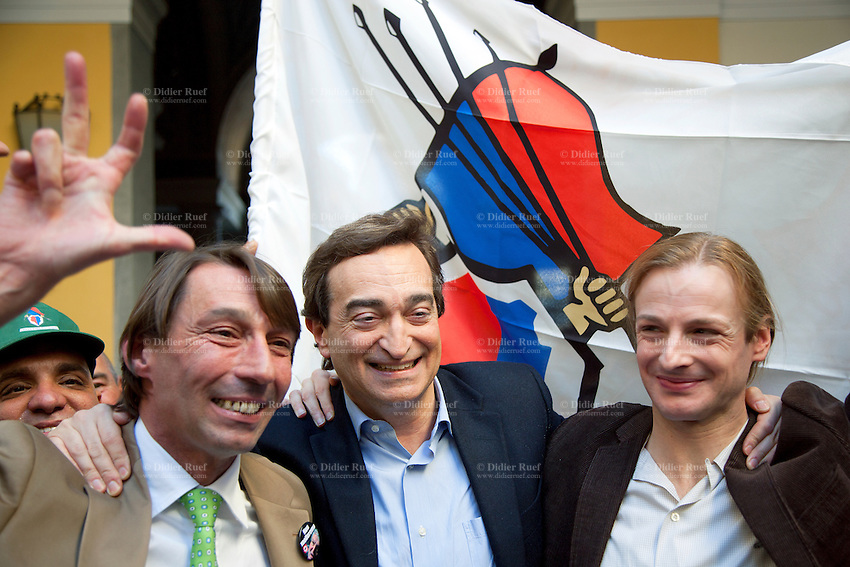 Switzerland. Canton Ticino. Lugano. Election day. Town Hall. Marco Borradori (center) is elected as the new mayor of Lugano. He stands between Michele Foletti (left) and Lorenzo Quadri (right). The Lega dei Ticinesi (League of Ticino) emerged triumphant from municipal elections in Lugano with three of its candidates winning election to the seven-person administrative council. 14.04.13. © 2013 Didier Ruef