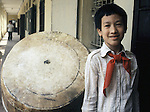 A member of the Young Pioneers at the Dong Da Primary School in Hanoi, North Vietnam.  (Jim Bryant Photo).....