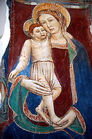 14th century fresco of the Virgin Mary and child, Amalfi Cathedral museum, Italy
