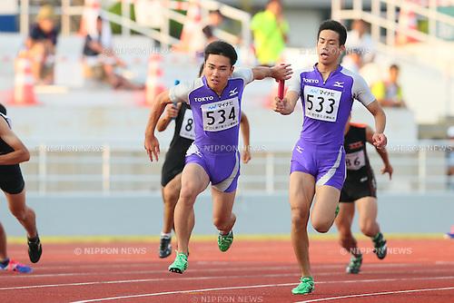 Kenta Oshima, JULY 29, 2015 - Athletics : 2015 All-Japan Inter High School Championships, Men's 4100mR at Kimiidera Athletic Stadium, Wakayama, Japan. (Photo by YUTAKA/AFLO SPORT)