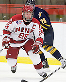 Chris Huxley (Harvard - 28) - The visiting Quinnipiac University Bobcats defeated the Harvard University Crimson 3-1 on Wednesday, December 8, 2010, at Bright Hockey Center in Cambridge, Massachusetts.