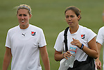 21 August 2009: Jen Buczkowski (left) and Kerri Hanks (right). Sky Blue FC held a training session at the Home Depot Center in Carson, California one day before playing Los Angeles Sol in the inaugural Women's Professional Soccer Championship Game.