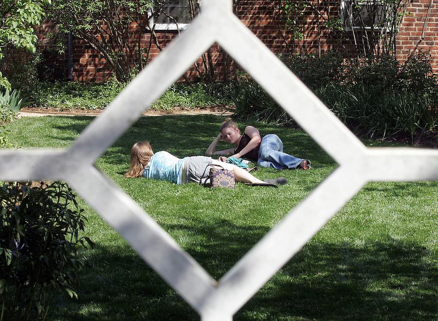 UVa pavilion gardens in spring 2007. Photo/Andrew Shurtleff students