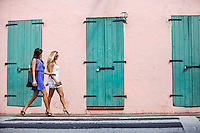 Women shopping in historic Charlotte Amalie<br />