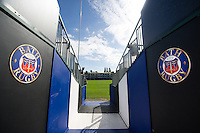 A general view of the tunnel leading to the Recreation Ground pitch. Aviva Premiership match, between Bath Rugby and Worcester Warriors on September 17, 2016 at the Recreation Ground in Bath, England. Photo by: Patrick Khachfe / Onside Images
