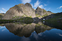 Multiple summits of Munken mountain peak reflect in lake, Moskenesøy, Lofoten Islands, Norway