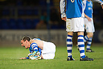 St Johnstone v Hibs..28.11.12      SPL.David Robertson shouts in pain after a tackle breaks his leg.Picture by Graeme Hart..Copyright Perthshire Picture Agency.Tel: 01738 623350  Mobile: 07990 594431