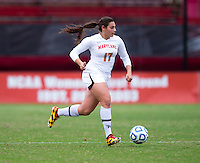 Gabby Galanti (17) of Maryland brings the ball upfield during the game at Ludwig Field in College Park, MD.  Maryland defeated Miami, 2-1, in overtime.