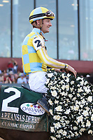HOT SPRINGS, AR - April 15: Jockey Julien Leparoux aboard Classic Empire #2 after winning the Arkansas Derby at Oaklawn Park on April 15, 2017 in Hot Springs, AR. (Photo by Ciara Bowen/Eclipse Sportswire/Getty Images)