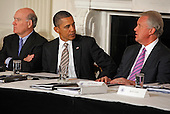 United States President Barack Obama (C) meets with his Council on Jobs and Competitiveness, group of business leaders tapped to come up with job-spurring ideas, including White House Chief of Staff William Daley and General Electric CEO Jeffrey Imelt in the State Dining Room at the White House January 17, 2012 in Washington, DC. Headed by Imelt, the council released a report with suggestions, including investment in education and research and development, support for the manufacturing sector and reform in the tax and regulatory systems.  .Credit: Chip Somodevilla / Pool via CNP