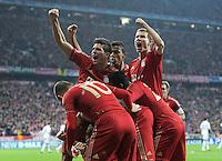 FUSSBALL   CHAMPIONS LEAGUE  HALBFFINAL HINSPIEL   2011/2012      FC Bayern Muenchen -Real Madrid          17.04.2012 Jubel nach dem Tor zum 1:0, Mario Gomez , Holger Badstuber (li, FC Bayern Muenchen)