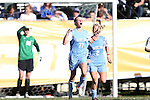 02 December 2012: UNC's Hanna Gardner (71) reacts to scoring the eventual game-winning goal early in the second half. The University of North Carolina Tar Heels played the Penn State University Nittany Lions at Torero Stadium in San Diego, California in the 2012 NCAA Division I Women's Soccer College Cup championship game. UNC won the game 4-1.
