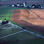 Aerial, Pennsylvania, farm views, Amish farm and funeral