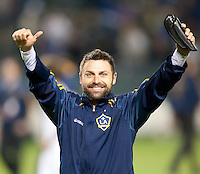 LA Galaxy midfielder Dema Kovalenko (21) celebrates after the game between LA Galaxy and the Seattle Sounders at the Home Depot Center in Carson, CA, on November 7, 2010. LA Galaxy 2, Seattle Sounders 1. LA Galaxy advance in the playoffs with an aggregate score of 3 to 1.