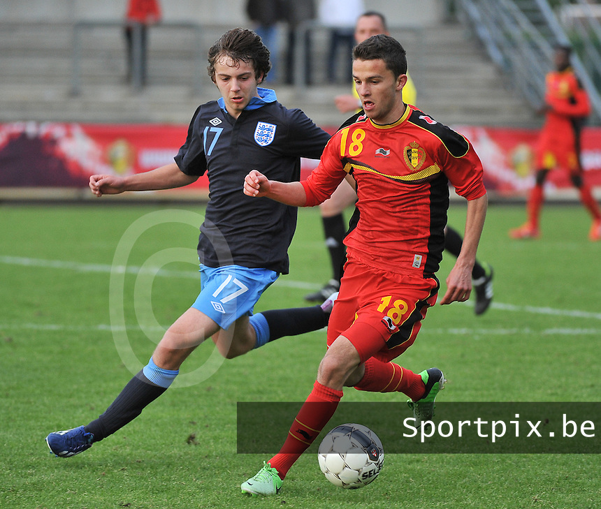 Belgium U19 - England U19 : Siebe Schrijvers (18) and Benjamin Pearson (17).foto DAVID CATRY / Nikonpro.be