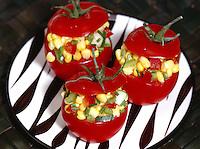 Fresh Tomatoes stuffed with Corn Salad