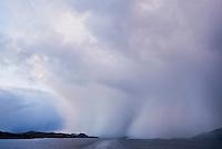 Snow storm over ocean along Norwegain coast near the village of Rørvik, Norway