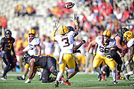 College Park, MD - OCT 15, 2016: Minnesota Golden Gophers defensive back KiAnte Hardin (3) tips a Maryland Terrapins pass and it's intercepted by Minnesota Golden Gophers defensive back Antoine Winfield Jr. (11) during game between Maryland and Minnesota at Capital One Field at Maryland Stadium in College Park, MD. (Photo by Phil Peters/Media Images International)
