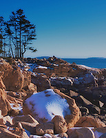 Visitors to Acadia National Park in the winter will be rewarded with vistas of snow-accented pink granite shorelines and the quiet beauty of frozen lakes without the crush of a summer crowd. Ship Harbor Trail is a short loop that takes hikers along a scenic inlet and then though a coastal forest.