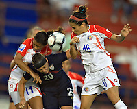 Katherine Alvarado of Costa Rica (R) battles against Abby Wambach (left). USWNT vs Costa Rica in the 2010 CONCACAF Women's World Cup Qualifying tournament held at Estadio Quintana Roo in Cancun, Mexico on November 8th, 2010.