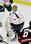 28 January 2012: University of Vermont Catamount starting goaltender Alex Vazzano, a Sophomore from Trumbull, CT, in second period action against the visiting Northeastern University Huskies at Gutterson Fieldhouse in Burlington, Vermont. The Catamounts, dressed in their Breast Cancer Awareness jerseys, fell to the Huskies 4-2 in the second game of their 2-game Hockey East weekend series. Mandatory Credit: Ed Wolfstein Photo