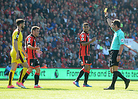 Referee Lee Probert shows the yellow card to Burnley's Robbie Brady for diving <br /> <br /> Photographer Ian Cook/CameraSport<br /> <br /> The Premier League - Bournemouth v Burnley - Saturday 13th May 2017 - Vitality Stadium - Bournemouth<br /> <br /> World Copyright &copy; 2017 CameraSport. All rights reserved. 43 Linden Ave. Countesthorpe. Leicester. England. LE8 5PG - Tel: +44 (0) 116 277 4147 - admin@camerasport.com - www.camerasport.com