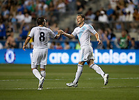 John Terry (26) of Chelsea celebrates his goal with teammate Frank Lampard (8) during the game at PPL Park in Chester, PA.  The MLS All-Stars defeated Chelsea, 3-2.