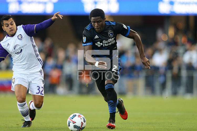 San Jose, CA - Wednesday May 17, 2017: Matías Pérez García, Kofi Sarkodie during a Major League Soccer (MLS) match between the San Jose Earthquakes and Orlando City SC at Avaya Stadium.