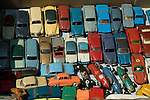 Antique toy cars on display for sale in a flea market in Cahors, France