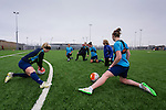 Doncaster Rovers Belles 1 Chelsea Ladies 4, 20/03/2016. Keepmoat Stadium, Womens FA Cup. Doncaster Rovers Belles players stretching at the end of a training session on the astroturf pitch outside The Keepmoat Stadium. Photo by Paul Thompson.