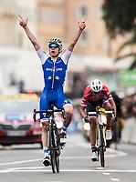 Picture by Alex Broadway/SWpix.com - 12/03/17 - Cycling - 2017 Paris Nice - Stage Eight - Nice to Nice - David de la Cruz of Quick-Step Floors celebrates winning the stage.