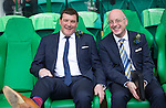 St Johnstone v Dundee United....17.05.14   William Hill Scottish Cup Final<br /> A relaxed St Johnstone manager Tommy Wright prior to kick off with Paul Smith<br /> Picture by Graeme Hart.<br /> Copyright Perthshire Picture Agency<br /> Tel: 01738 623350  Mobile: 07990 594431