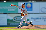 2 July 2011: Tri-City ValleyCats pitcher Nicholas Tropeano on the mound against the Vermont Lake Monsters at Centennial Field in Burlington, Vermont. The Monsters rallied from a 4-2 deficit to defeat the ValletCats 7-4 in NY Penn League action. Mandatory Credit: Ed Wolfstein Photo