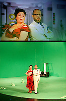 Picture shows : Karen Cargill as Isabella and  Adrian Powter as Taddeo..Picture  ©  Drew Farrell Tel : 07721 -735041..A new Scottish Opera production of  Rossini's 'The Italian Girl in Algiers' opens at The Theatre Royal Glasgow on Wednesday 21st October 2009..(Soap) opera as you've never seen it before..Tonight on Algiers.....Colin McColl's cheeky take on Rossini's comic opera is a riot of bunny girls, beach balls, and small screen heroes with big screen egos. Set in a TV studio during the filming of popular Latino soap, Algiers, the show pits Rossini's typically playful and lyrical music against the shoreline shenanigans of cast and crew. You'd think the scandal would be confined to the outrageous storylines, but there's as much action off set as there is on.... .Italian bass Tiziano Bracci makes his UK debut in the role of Mustafa. Scottish mezzo-soprano Karen Cargill, who the Guardian called a 'bright star' for her performance as Rosina in Scottish Opera's 2007 production of The Barber of Seville, sings Isabella. .Cast .Mustafa...Tiziano Bracci.Isabella..Karen Cargill.Lindoro...Thomas Walker.Elvira...Mary O'Sullivan.Zulma...Julia Riley.Haly...Paul Carey Jones.Taddeo...Adrian Powter. .Conductors.Wyn Davies.Derek Clarke (Nov 14). .Director by Colin McColl.Set and Lighting Designer by Tony Rabbit.Costume Designer by Nic Smillie..New co-production with New Zealand Opera.Production supported by.The Scottish Opera Syndicate.Sung in Italian with English supertitles..Performances.Theatre Royal, Glasgow - October 21, 25,29,31..Eden Court, Inverness - November 7. .His Majesty's Theatre, Aberdeen  - November 14..Festival Theatre,Edinburgh - November 21, 25, 27 ...Note to Editors:  This image is free to be used editorially in the promotion of Scottish Opera. Without prejudice ALL other licences without prior consent will be deemed a breach of copyright under the 1988. Copyright Design and Patents Act  and will be subject to payment or legal action, where appropriate..Furthe