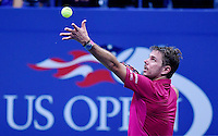 NEW YORK, USA - SEPT 09, Stan Wawrinka of Switzerland serves to Kei Nishikori of Japan during their Men's Singles Semifinal Match of the 2016 US Open at the USTA Billie Jean King National Tennis Center on September 9, 2016 in New York.  photo by VIEWpress