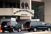 Washington, DC - January 19, 2009 -- Security personnel stand at the entrance of Walter Reed Army Medical Center where President-elect Barack Obama is visiting with wounded soldiers in Washington, D.C., U.S., Monday, January 19, 2009.    .Credit: Joshua Roberts - Pool via CNP