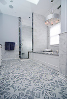Arabella, a natural stone waterjet and hand cut mosaic shown in Carrara and Thassos, is part of the Silk Road Collection by Sara Baldwin for New Ravenna Mosaics.<br />
