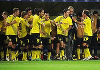 FUSSBALL   CHAMPIONS LEAGUE   SAISON 2011/2012  Borussia Dortmund - Arsenal London        13.09.2001 Dortmunder Jubel nach dem 1:1: Sven BENDER, Marcel SCHMELZER, Mats HUMMELS, Neven SUBOTIC, Mohamed ZIDAN, Robert LEWANDOWSKI, Trainer Juergen KLOPP und Mario GOETZE