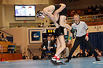 12 MAR 2011:  Jon Sundgren of St. Cloud State (in black with red trim) wrestles Dillon Bera of Wisconsin-Parkside during the Division II Men's Wrestling Championship held at the UNK Health and Sports Center on the University of Nebraska - Kearney campus in Kearney, NE.   Sundgren defeated Bera 3-0 to win the157-lb national title.  Scott Anderson/NCAA Photos