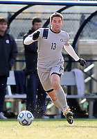 WASHINGTON, DC - NOVEMBER 25, 2012: Tyler Rudy (13) of Georgetown University against Syracuse University during an NCAA championship round of sixteen match at North Kehoe field, in Georgetown, Washington DC on November 25.