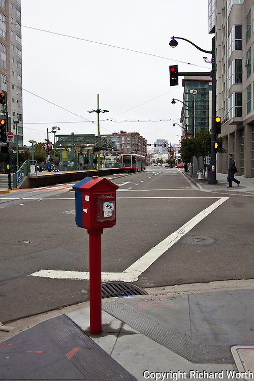 A fire alarm box stands ready at a San Francisco intersection.