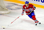22 November 2008: Montreal Canadiens' left wing forward Alex Tanguay in action against the Boston Bruins during the first period at the Bell Centre in Montreal, Quebec, Canada.  After a 2-2 regulation tie and a non-scoring 5-minute overtime period, the Boston Bruins scored the lone shootout goal thus defeating the Canadiens 3-2. The Canadiens, celebrating their 100th season, honored former Montreal goaltender Patrick Roy, and retired his jersey (Number 33) during pre-game ceremonies. ***** Editorial Use Only *****..Mandatory Photo Credit: Ed Wolfstein Photo *** Editorial Sales through Icon Sports Media *** www.iconsportsmedia.com