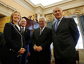 United States Secretary of State Hillary Clinton, left, hosts Prime Minister Benjamin Netanyahu of Israel, right, President Mahmoud Abbas of the Palestinian Authority, 2nd right, and George Mitchell, U.S. Special Envoy for Middle East Peace, 2nd left, in the Monroe Room of the State Department moments before direct talks aimed at peace in the Middle East, at the State Department in Washington, Thursday, September 2, 2010.      .Credit: Jason Reed / Pool via CNP